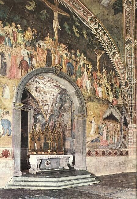 Frescoes on the central wall by Andrea Bonaiuti da Da Firenze - Reproduction Oil Painting