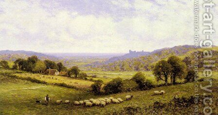 Near Amberley, Sussex, with Arundel Castle in the Distance by Alfred Glendening - Reproduction Oil Painting