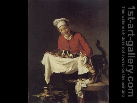 A Boy with Dogs and Kittens by Claude Joseph Bail - Reproduction Oil Painting