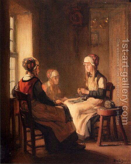 A Interior With Marken Girls Knitting by Claude Joseph Bail - Reproduction Oil Painting