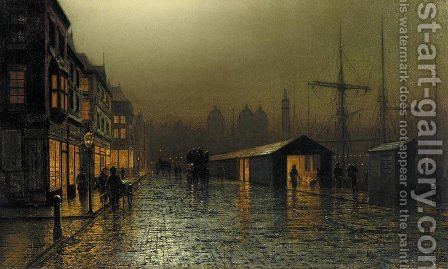 Hull Docks by Night by Arthur E. Grimshaw - Reproduction Oil Painting