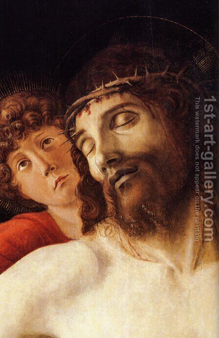 The Dead Christ Supported by Two Angels [detail] by Giovanni Bellini - Reproduction Oil Painting