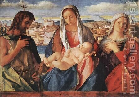 Madonna and Child with St. John the Baptist and a Saint by Giovanni Bellini - Reproduction Oil Painting