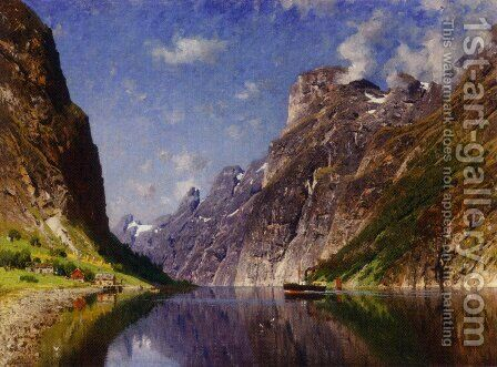 View of a Fjord by Adelsteen Normann - Reproduction Oil Painting