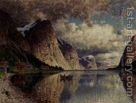 A Cloudy Day On A Fjord by Adelsteen Normann - Reproduction Oil Painting