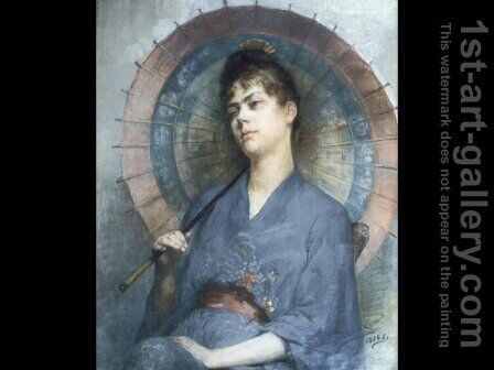 Woman with a Japanese Parasol by Anna Bilinska-Bohdanowiczowa - Reproduction Oil Painting