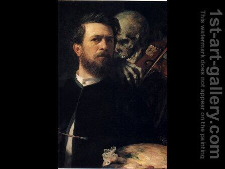 Self Portrait with Death by Arnold Böcklin - Reproduction Oil Painting