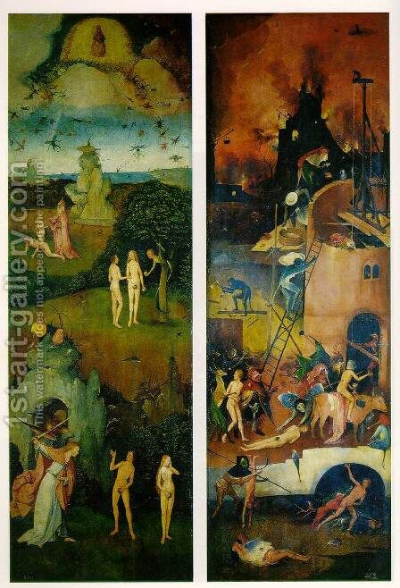 Paradise and Hell, left and right panels of a triptych by Hieronymous Bosch - Reproduction Oil Painting