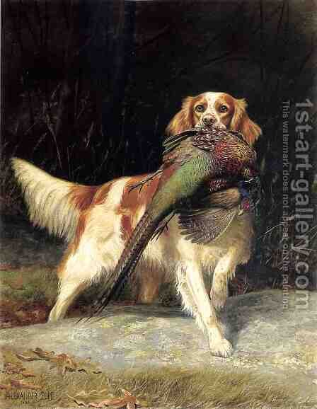 Springer Spaniel with Pheasant by Alexander Pope - Reproduction Oil Painting