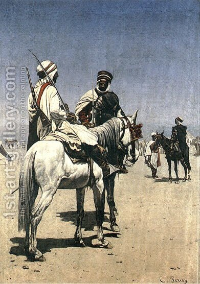 Arab men on horseback by Charles Louis Porion - Reproduction Oil Painting
