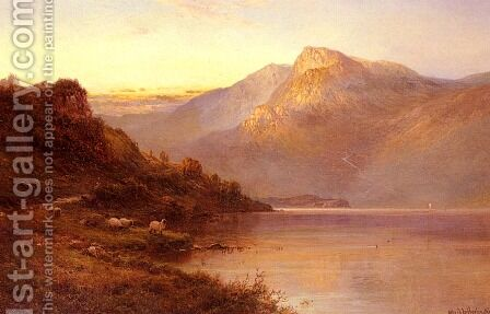 Sunset On The Loch by Alfred de Breanski - Reproduction Oil Painting