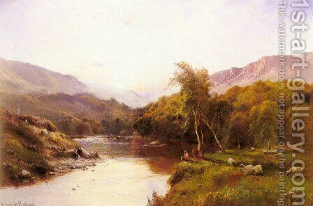 Tyn-Y-Groes, The Golden Valley by Alfred de Breanski - Reproduction Oil Painting