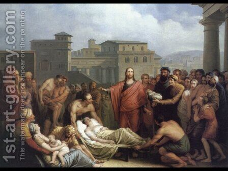 Le Christ Guerissant un Malade by Mathieu Ignace van Brée - Reproduction Oil Painting