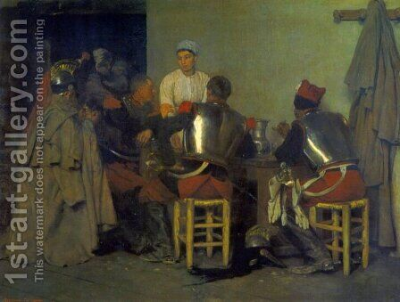 Cuirassiers at the Tavern by Guillaume Regamey - Reproduction Oil Painting