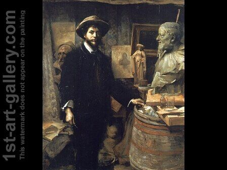 The Sculptor Jean Carries in his Atelier by Marie Louise Catherine Breslau - Reproduction Oil Painting