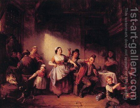 Merry Making by Henrich Engelbert Reyntjens - Reproduction Oil Painting
