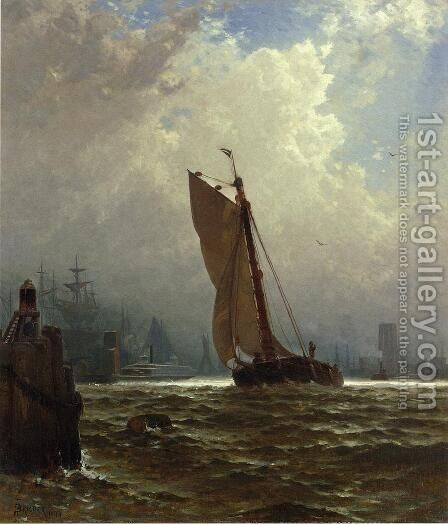 New York Harbor with the Brooklyn Bridge Under Construction by Alfred Thompson Bricher - Reproduction Oil Painting
