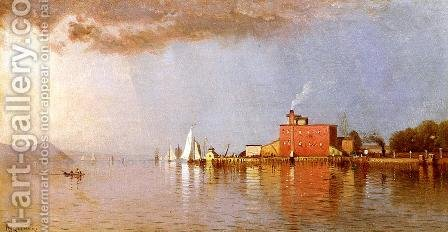 Along the Hudson by Alfred Thompson Bricher - Reproduction Oil Painting