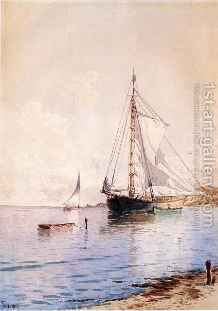 Drying the Main at Anchor by Alfred Thompson Bricher - Reproduction Oil Painting