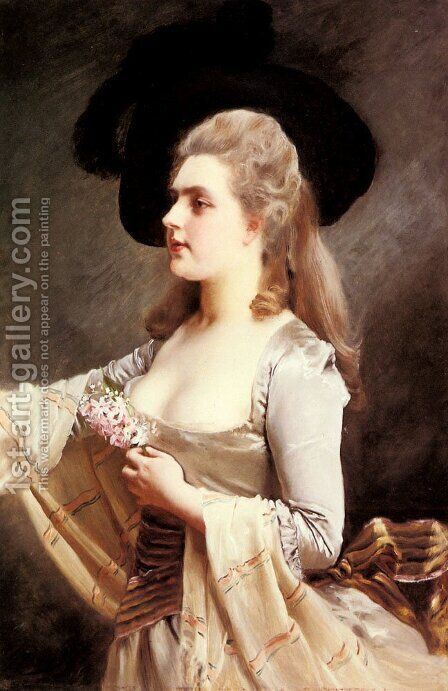 An Elegant Lady in a Black Hat by Gustave Jean Jacquet - Reproduction Oil Painting