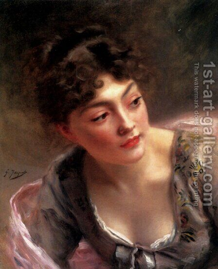 A Quick Glance by Gustave Jean Jacquet - Reproduction Oil Painting