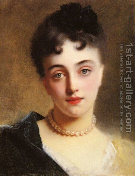 An Elegant Lady with Pearls by Gustave Jean Jacquet - Reproduction Oil Painting