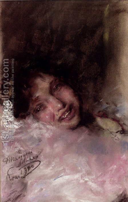 A Young Girl Laughing by Antonio Mancini - Reproduction Oil Painting