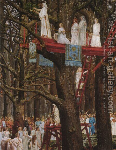 Druids Cutting the Mistletoe on the Sixth Day of the Moon by Henri Paul Motte - Reproduction Oil Painting