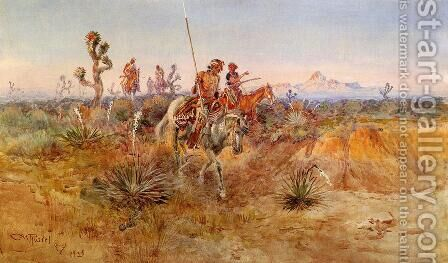 Navajo Trackers by Charles Marion Russell - Reproduction Oil Painting
