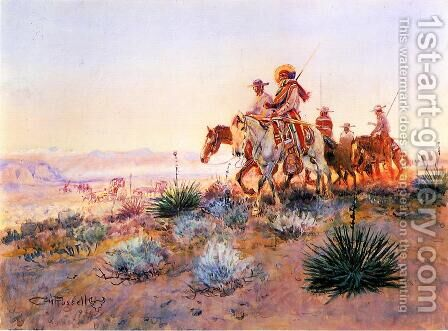 Mexican Buffalo Hunters by Charles Marion Russell - Reproduction Oil Painting