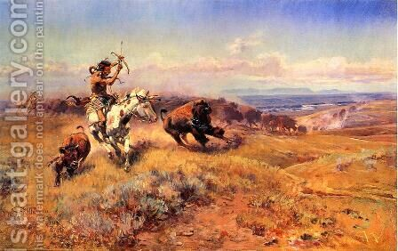 Horse of the Hunter (or Fresh Meat) by Charles Marion Russell - Reproduction Oil Painting