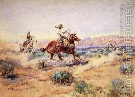 Roping a Wolf by Charles Marion Russell - Reproduction Oil Painting