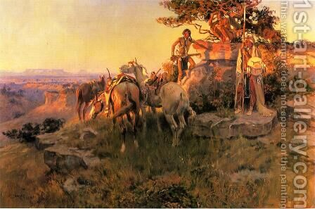 Watching for Wagons by Charles Marion Russell - Reproduction Oil Painting