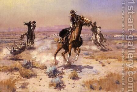 At Rope's End by Charles Marion Russell - Reproduction Oil Painting
