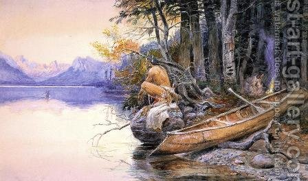Indian Camp - Lake McDonald by Charles Marion Russell - Reproduction Oil Painting