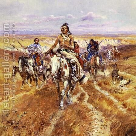When the Plains Were His by Charles Marion Russell - Reproduction Oil Painting