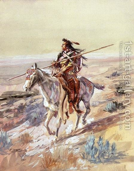 Indian with Spear by Charles Marion Russell - Reproduction Oil Painting