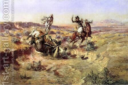 The Broken Rope by Charles Marion Russell - Reproduction Oil Painting