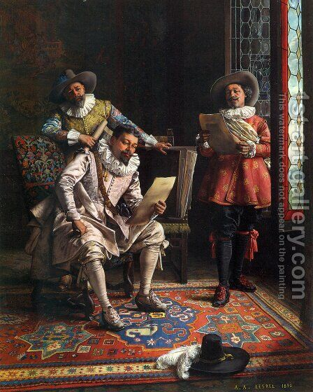 The Connoisseurs by Adolphe Alexandre Lesrel - Reproduction Oil Painting