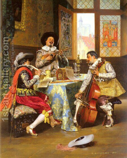 The Musical Trio by Adolphe Alexandre Lesrel - Reproduction Oil Painting