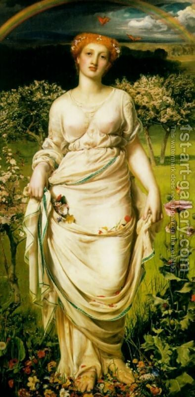 Gentle Spring by Anthony Frederick Sandys - Reproduction Oil Painting
