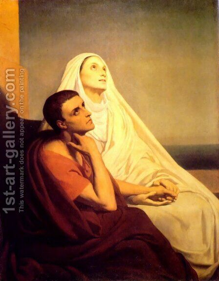 Saint Augustin et sa Mere Monique (Saint Monique and Saint Augustine) by Ary Scheffer - Reproduction Oil Painting