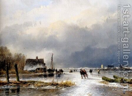 A Winter Landscape With Skaters On A Frozen Waterway by Andreas Schelfhout - Reproduction Oil Painting