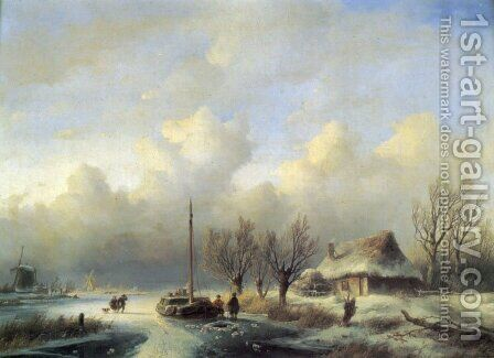 Figures in a winter landscape by Andreas Schelfhout - Reproduction Oil Painting