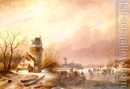 Skaters On A Frozen River by Andreas Schelfhout - Reproduction Oil Painting