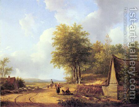 The Country Road by Andreas Schelfhout - Reproduction Oil Painting