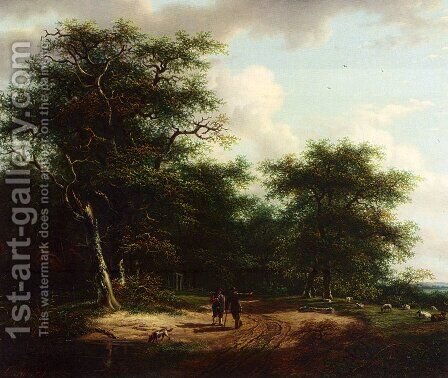Two Figures In A Summer Landscape by Andreas Schelfhout - Reproduction Oil Painting