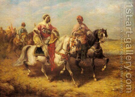 Arab Chieftain and his Entourage by Adolf Schreyer - Reproduction Oil Painting