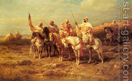 Arab Horsemen by a Watering Hole by Adolf Schreyer - Reproduction Oil Painting