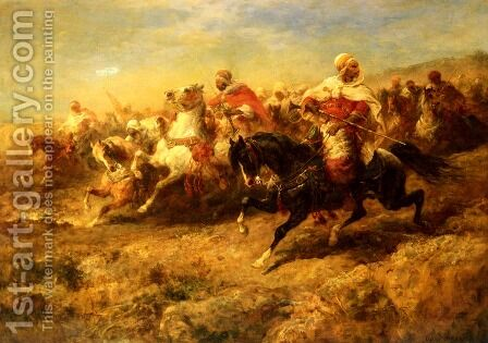 Arabian Horseman by Adolf Schreyer - Reproduction Oil Painting